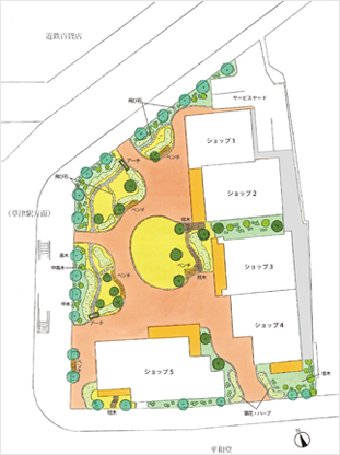 アニマート跡地賑わい空間整備事業の配置図