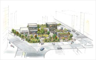 アニマート跡地賑わい空間整備事業のパース